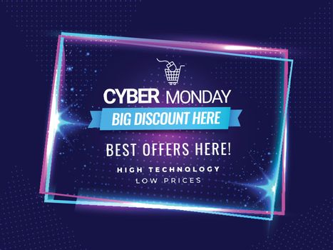 Cyber Monday sale background with big discount offers on dotted purple background.