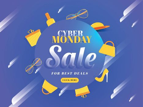 Advertising poster or banner design with shopping elements on abstract blue background for Cyber Monday Sale.