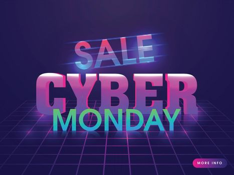 Lighting text Cyber Monday Sale on purple grid background for advertisement concept.