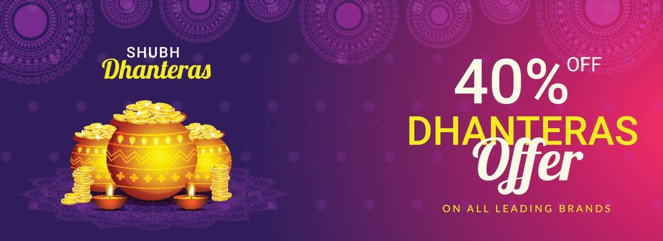 Sale banner design with 40% discount offer and shiny golden coin