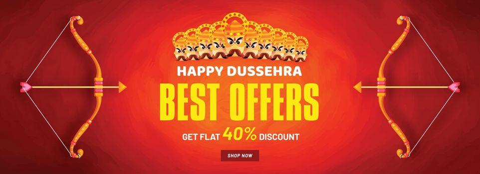 Happy Dussehra Best offer sale banner design with 40% discount o
