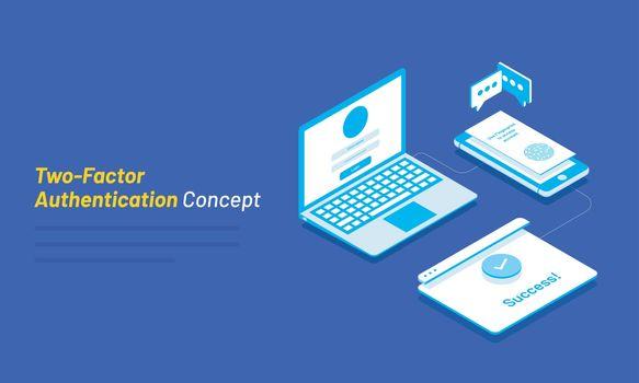 Dual Factor Authentication concept based isometric design, lapto