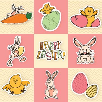 Set of greeting card with cute cartoon characters including bunn
