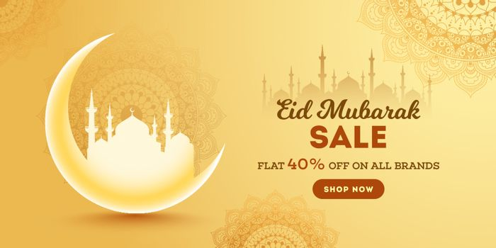 Eid Mubarak Sale header or banner design with 40% off on all bra