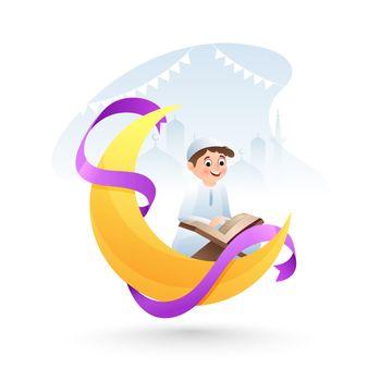 Creative Poster or banner design. Cartoon character of cute litt
