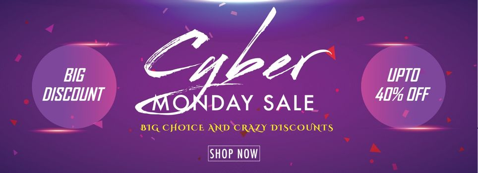 Big discount sale upto 40% flat offer on Cyber Monday Sale. Shiny purple website header or banner design.