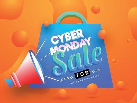 Cyber Monday Sale advertising concept, 70% discount offer with megaphone and shopping bag on fluid art abstract background.