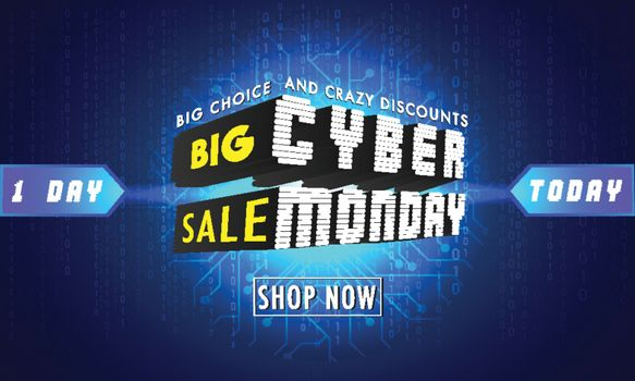 3D Creative Text Cyber Monday on blue circuit background. Big Sale advertising poster or banner design.