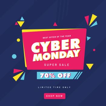 Sale tag with 70% discount offer for Cyber Monday poster design.