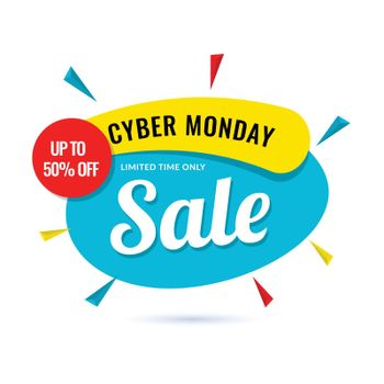 Cyber Monday Sale poster upto 50% offer on white background.