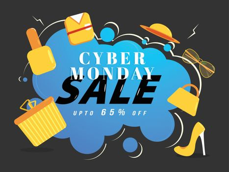 Advertising banner or poster design, Cyber Monday Sale upto 65% off on abstract background with shopping elements.