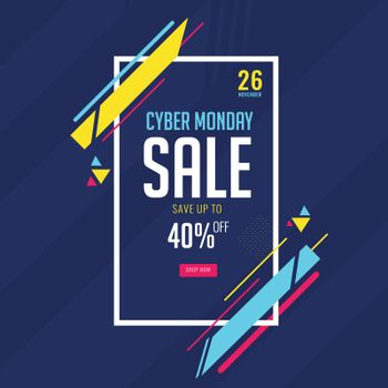 Cyber Monday Sale poster with 40% discount offer on abstract bac