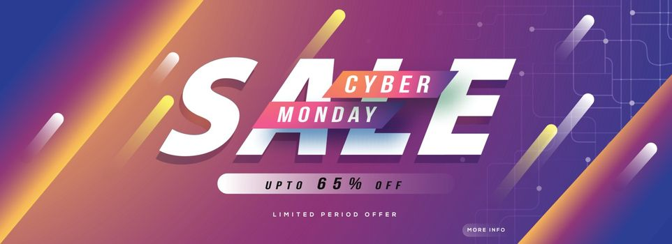 Website header or banner design, Upto 65% off for Cyber Monday Sale advertisment concept.
