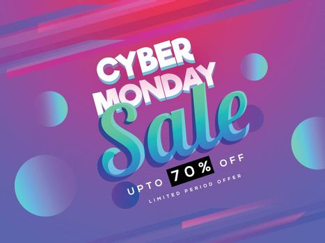 Cyber Monday Sale with 70% discount offer on shiny abstract background for Advertising banner or poster design.