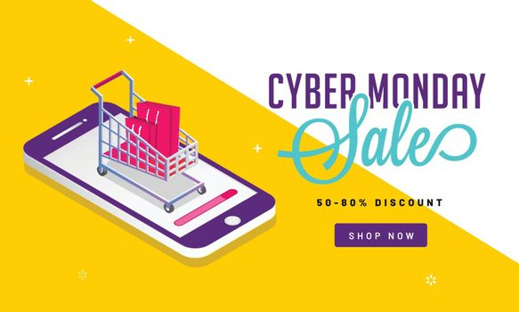Online shopping concept with 50-80% discount offer for Cyber Monday Sale banner design.