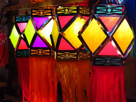 Beautiful colorful traditional lanterns put for decoration during Diwali celebration in India.