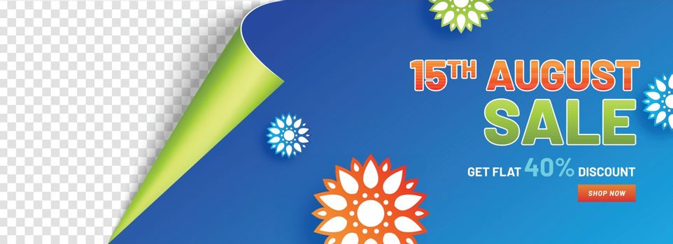 15 August Sale header or banner design with 40% discount offer a