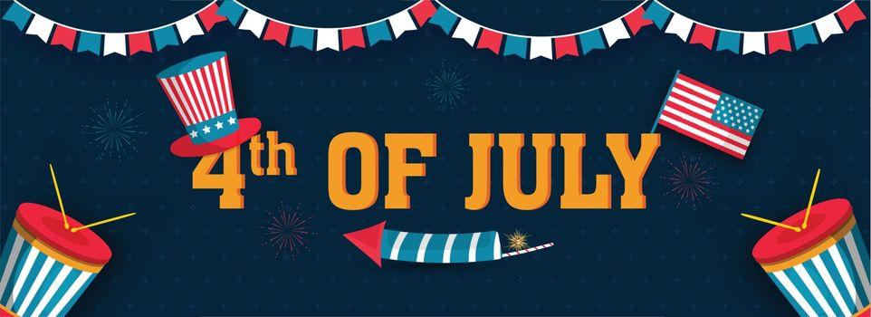 4th Of July header or banner design with uncle sam hat, America Flag and drum illustration on blue background.