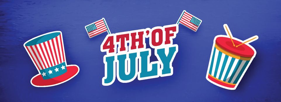 Sticker style text 4th Of July with American Flags, uncle sam hat and drum illustration on blue background. Header or banner design.