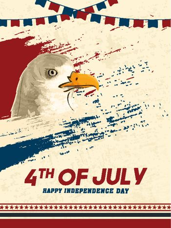 4th of July Independence Day template design with American National bird of eagle on brush stroke background decorated bunting flags.