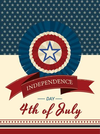 4th of July Independence Day invitation card or template design with American badge.