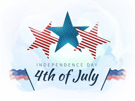 4th of July Independence Day celebration background with creative stars in American Flag colors.