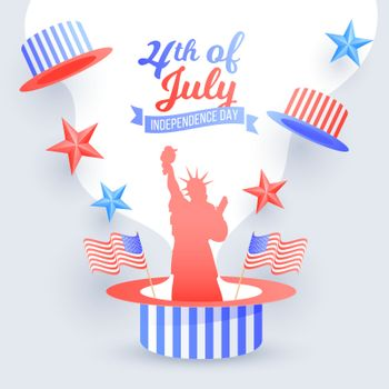 4th of July Independence Day poster or flyer design decorated with Statue of liberty, American waving flags and uncle sam hat.