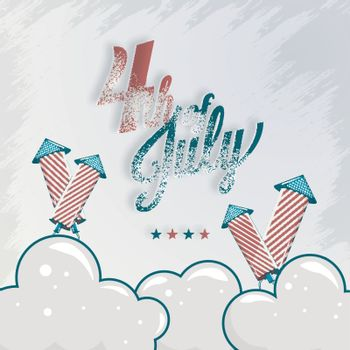 Calligraphy text 4th Of July with firework rocket on texture cloudy background for celebration concept.