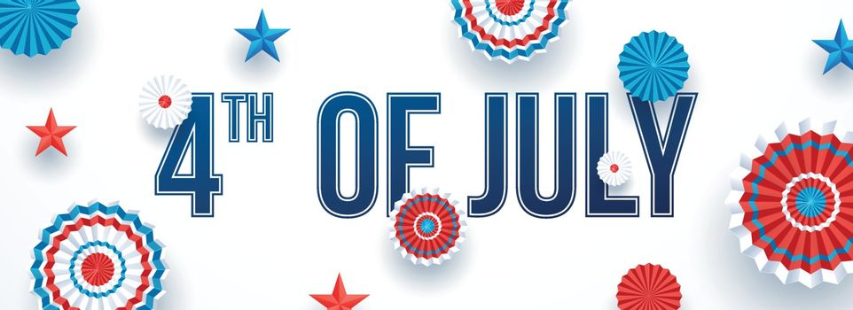 4th Of July celebration header or banner design decorated with American badge and stars on white background.