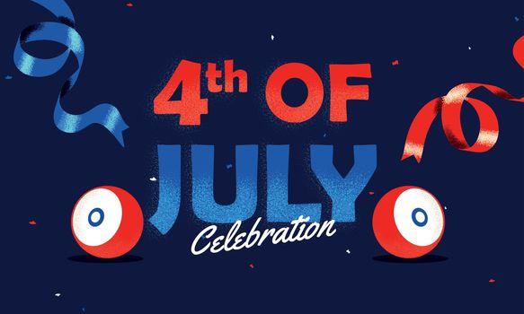 4th Of July Celebration banner or poster design with woofer illustration on blue background.