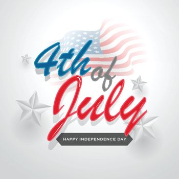 Colorful calligraphy of 4th Of July with stars decorated on glossy white background for Happy Independence Day celebration concept.