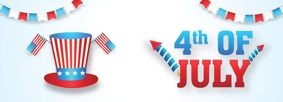 4th Of July header or banner design with illustration of uncle s