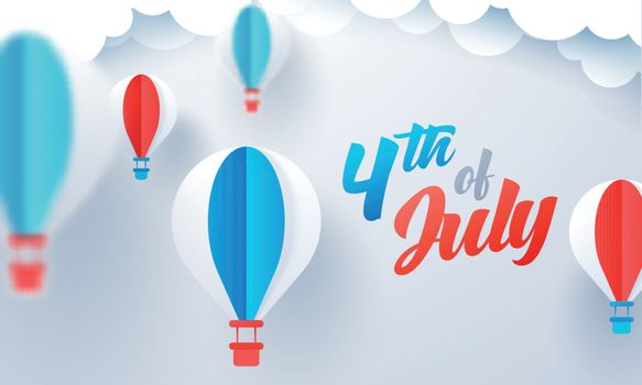 4th Of July celebration banner or poster design with paper cut hot air balloons decorated on glossy cloudy background.