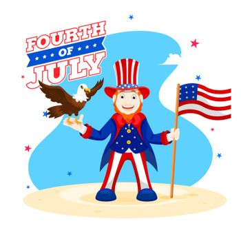 Happy man character wearing uncle sam hat with American Flag and