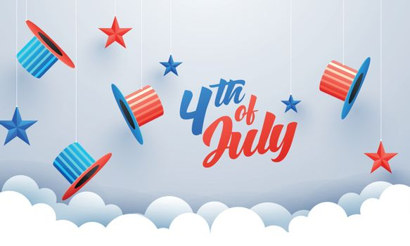 4th Of July celebration banner or poster design with uncle sam h