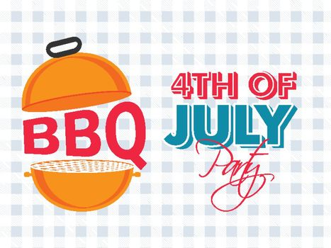 4th Of July bbq party celebration banner or poster design with barbecue grill illustration.