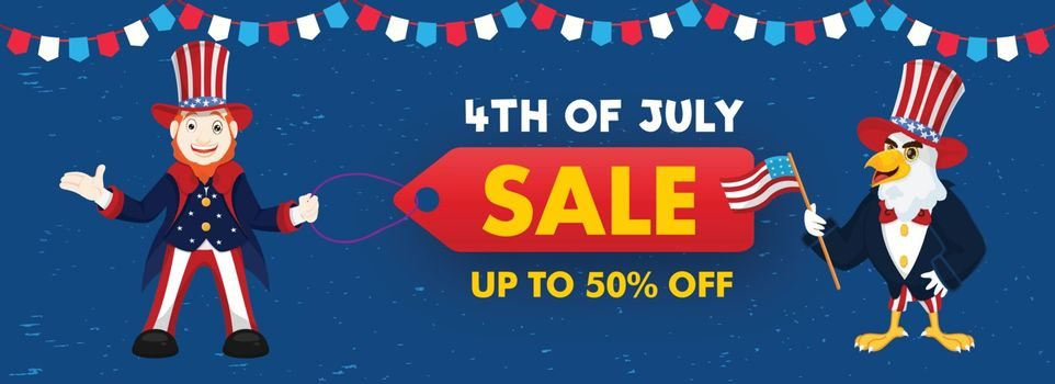 4th Of July Sale header or banner design with 50% discount offer, happy man character and eagle cartoon holding American Flag.