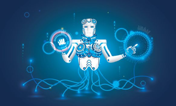 Artificial Intelligence (AI) concept, illustration of  humanoid