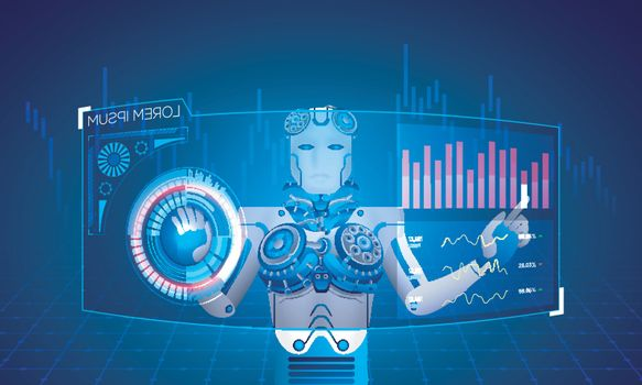 Responsive landing page design with humanoid robot working with