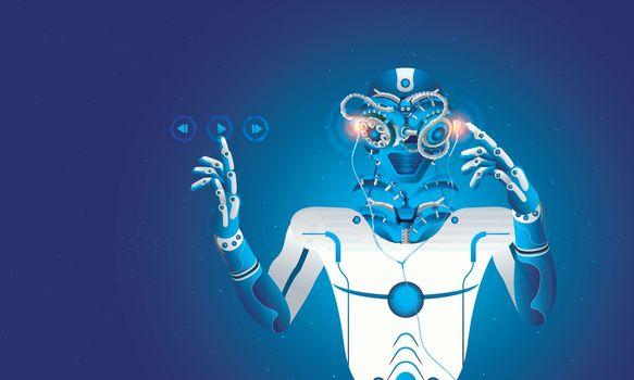 Humanoid robot listening music, cybernetic organism presses play