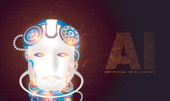 Website hero banner design, illustration of humanoid robotic fac