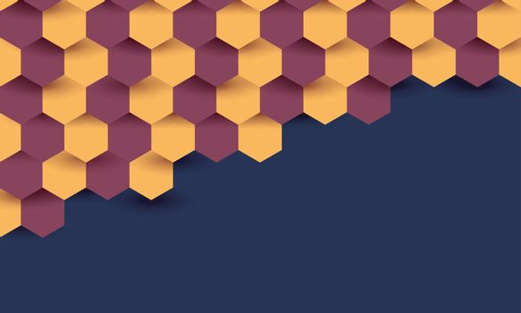 Abstract hexagon design in half sided on blue background.