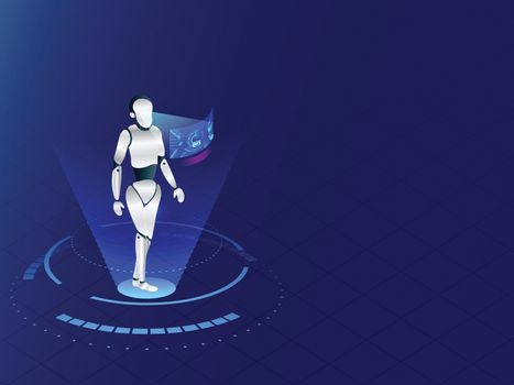 Humanoid robot working with virtual display interface on blue ba