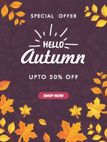 Template or flyer design of Hello Autumn with Special Offer and
