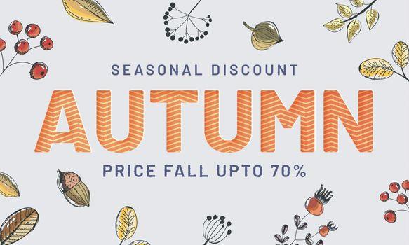 "Seasonal Discount ""Autumn Sale"" header or banner design with dec"