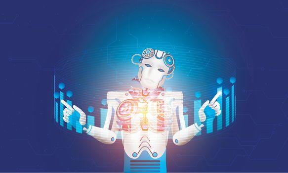 Humanoid robot  or cyborg working with hud display or virtual ke