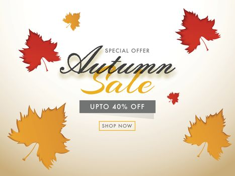 Autumn Sale advertising template or poster design with 40% speci