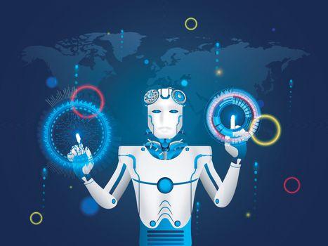 Illustration of humanoid robot working with virtual HUD interfac