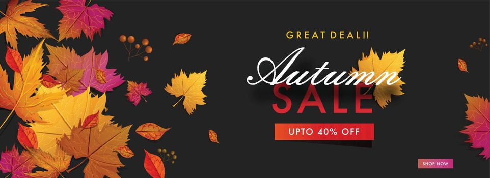 Advertising Autumn Sale header or banner design with 40% discoun