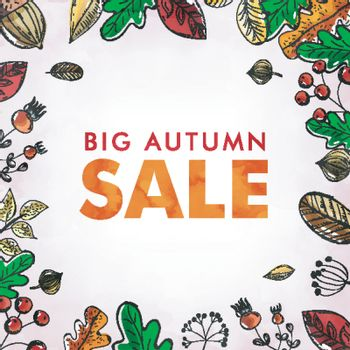 """""""Big Autumn Sale"""" banner or poster design with decoration of Aut"""